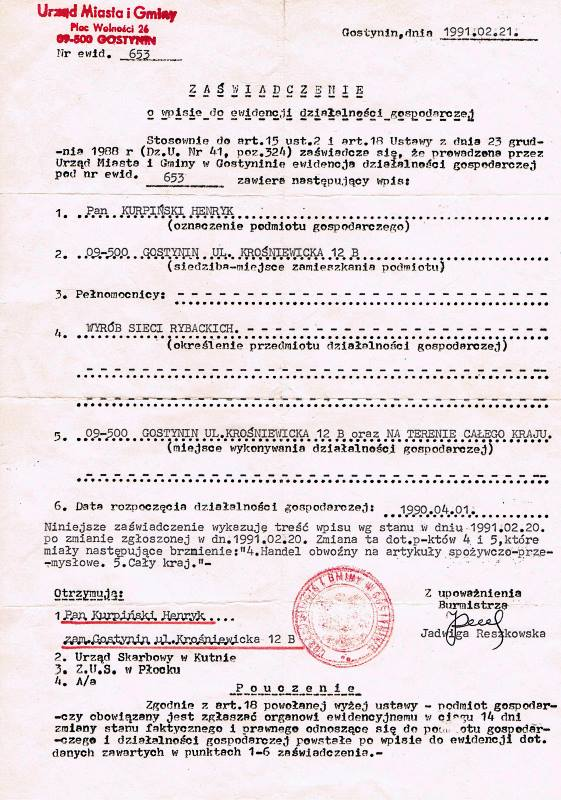 Sieci Rybackie 1991 rok.